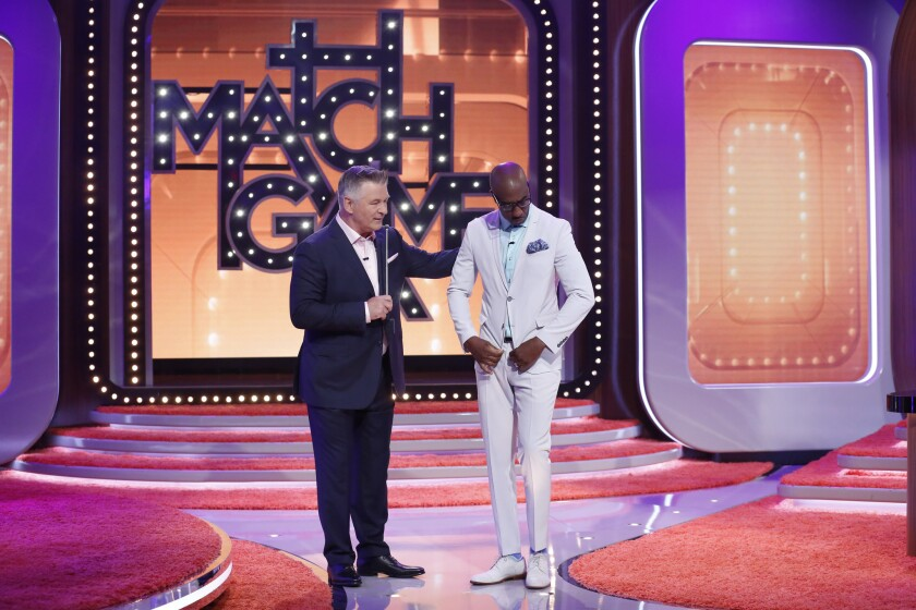 "Alec Baldwin and J.B. Smoove on ABC's ""Match Game."""