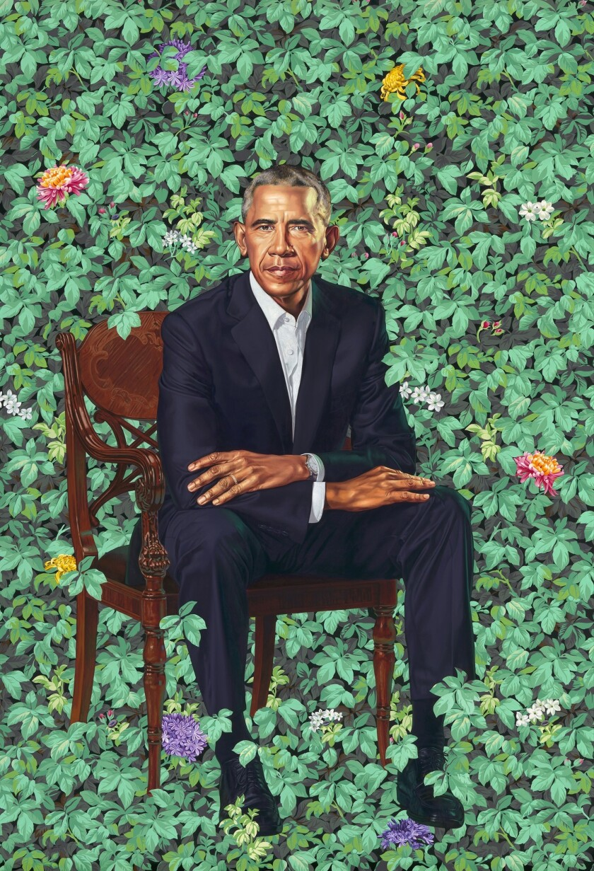 A new portrait of President Barack Obama by Kehinde Wiley was unveiled Monday at the National Portrait Gallery in Washington, D.C.