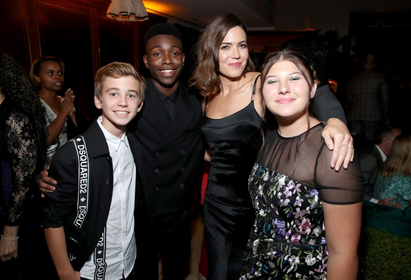 """Parker Bates, Niles Fitch, Mandy Moore and Mackenzie Hancsicsak from """"This Is Us"""""""