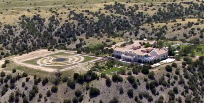 FILE - In this July 8, 2019, file photo shows Jeffrey Epstein's Zorro Ranch in Stanley, N.M. The sprawling northern New Mexico ranch belonging to deceased financier is on the market for $27.5 million. The 11.9-square-mile Zorro Ranch put up for sale by Epstein's estate includes a 26,700-square-foot mansion and a private airstrip with a hangar and helipad. (KRQE via AP, File)