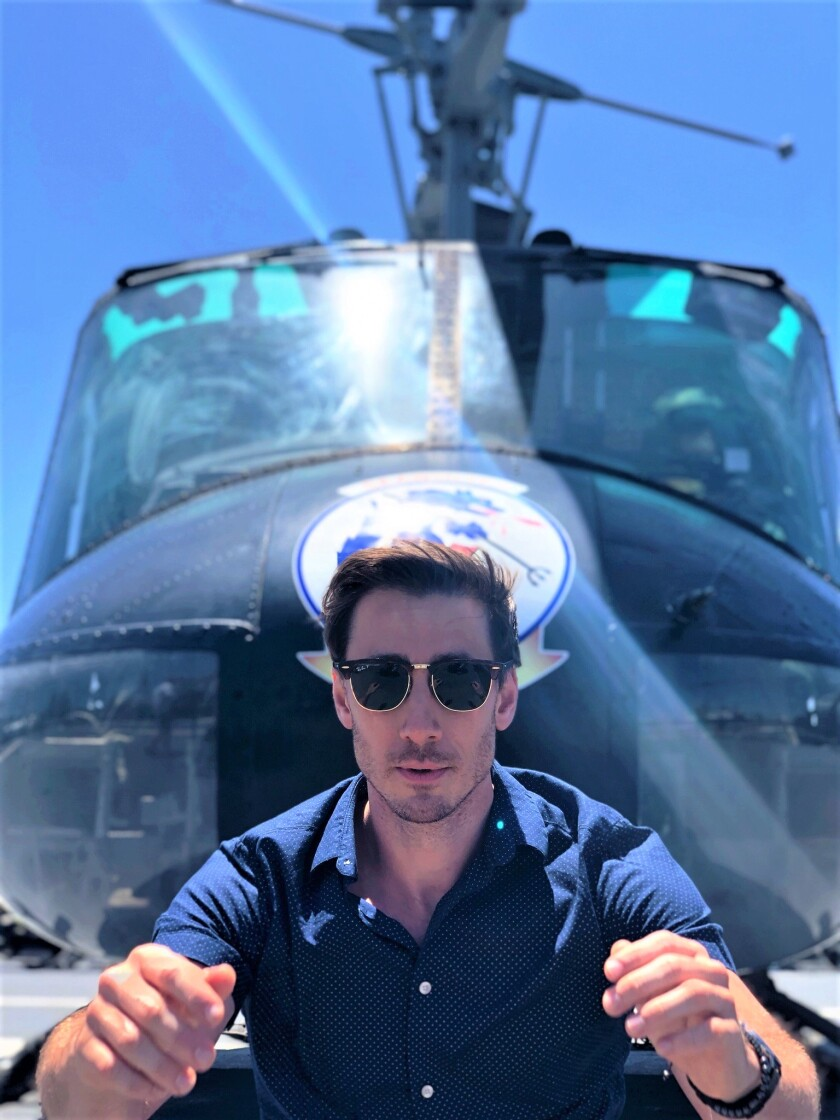 Anthony Festa on the Huey on the USS Midway.jpg
