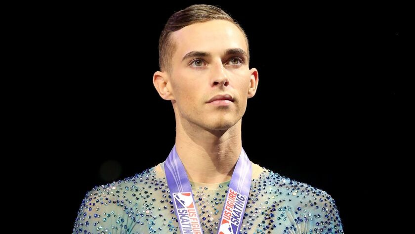 Adam Rippon was named to the U.S. Olympic team for the first time after finishing fourth at the national championships earlier this month.