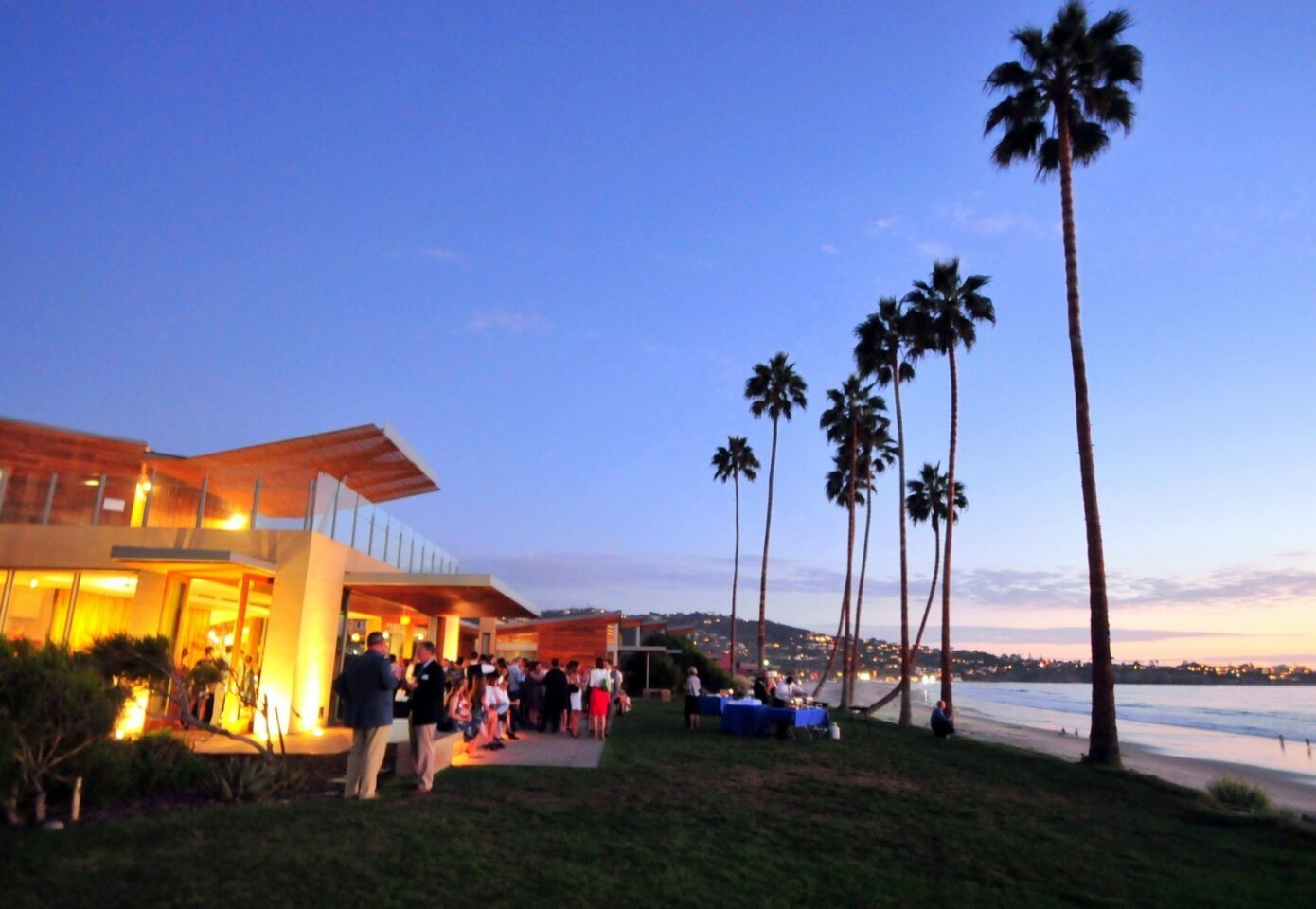 Attendees are treated to a picture perfect evening on the bluffs of La Jolla at Scripps Seaside Forum for San Diego Coastkeeper's Seaside Soirée, Sept. 10, 2014.