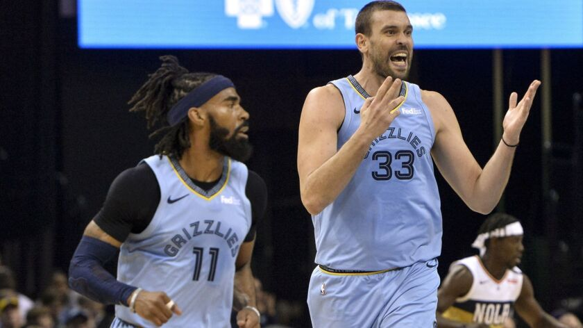 Memphis Grizzlies center Marc Gasol (33) reacts as he and guard Mike Conley (11) play in the first h