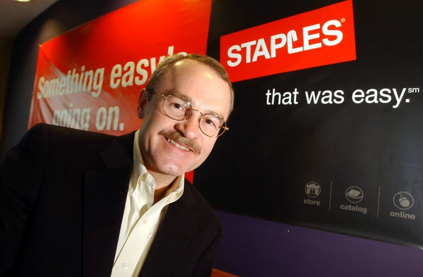 FILE- In this March 5, 2003, file photo, Staples Inc. CEO Ron Sargent poses for a photo at Staples' headquarters in Framingham, Mass. Staples Inc. says Sargent will step down as chief executive. The Framingham, Massachusetts-based office supplies retailer said Tuesday, May 31, 2016, that Staples ex