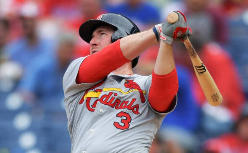 St. Louis Cardinals' Jedd Gyorko hits a two-run home run against the Philadelphia Phillies on May 30 at Citizens Bank Park.