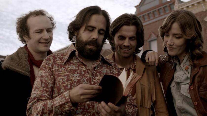 "Napoleon Ryan, from left, Mike C. Nelson, David McCracken and Jenni Melear in the movie ""Bullitt County."""