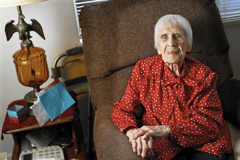 """Virginia Davis of Santa Monica turns 108 on Oct. 16. """"I can't believe it. I can't believe it,"""" she says."""