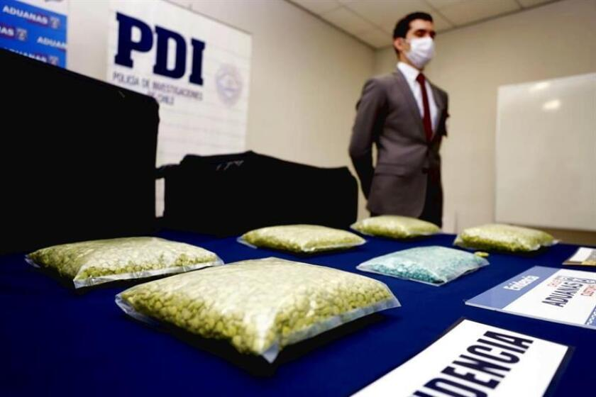 Courtesy photograph from the PDI law enforcement agency that shows the 27,000 doses of ecstasy seizure at the Santiago airport by antinarcotic officers on Feb. 5, 2018, in Santiago, Chile. EPA_EFE/PDI Chile / EDITORIAL USE ONLY / NO SALES