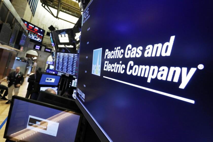 PG&E logo at New York Stock Exchange