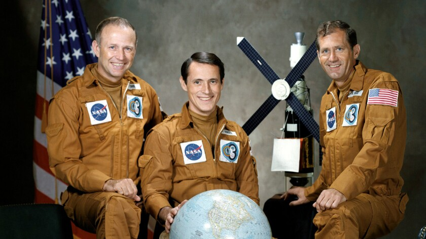 The strikers of Skylab 4 before taking off in 1973: from left, Jerry Carr, Ed Gibson and William Pogue.