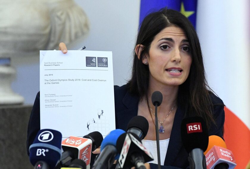 Rome Mayor Virginia Raggi speaks during a news conference Sept. 21 in Rome.