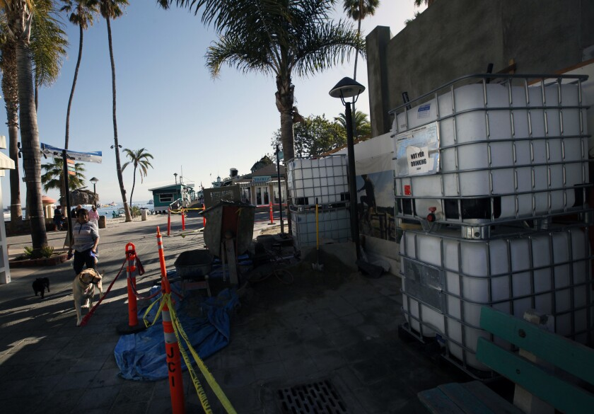 Water containers that were brought to Catalina for construction.