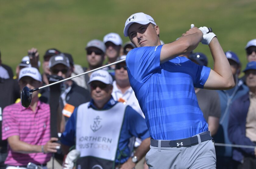 Jordan Speith watches his drive on the third tee during the first round of the Northern Trust Open golf tournament, Thursday, Feb. 18, 2016 in Los Angeles. (John McCoy/Los Angeles Daily News via AP)  NO SALES; MAGS OUT; HILLS OUT, LOS ANGELES TIMES OUT; VENTURA COUNTY STAR OUT ANTELOPE VALLEY PRESS