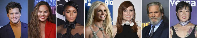 This combination photo of celebrities with birthdays from Nov. 29-Dec. 5 shows Diego Boneta, from left, Chrissy Teigen, Janelle Monae, Britney Spears, Julianne Moore, Jeff Bridges and Margaret Cho. (AP Photo)