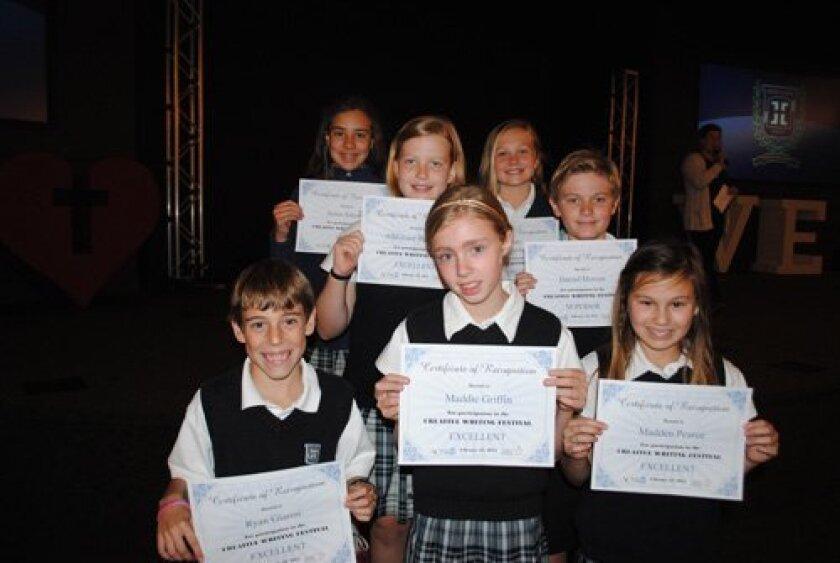 Horizon Prep 4th - 5th Grade ACSI Creative Writing Festival Finalists:  (1st Row, L-R)   Ryan Gianni, Maddie Giffin, Madden Pearce; (2nd Row, L-R) AlliGrace Raymond, Daniel Hotson; (3rd Row, L-R) Jenna Antonio, Grace Schreckengaust.