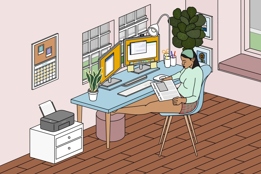 Illustration of a woman working from her home office