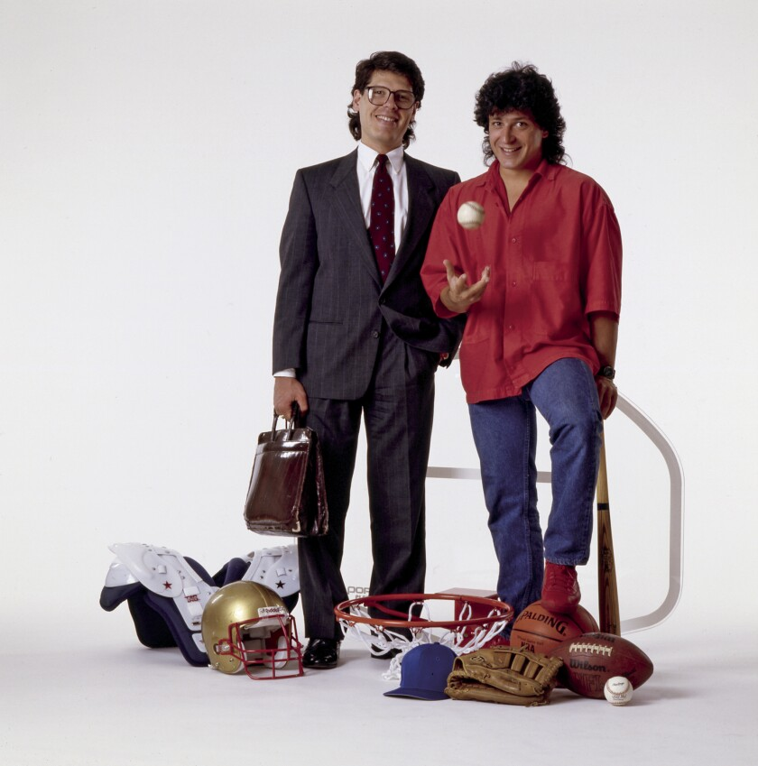 Tock, left, and John Costacos started a sports poster business in the 1980s.