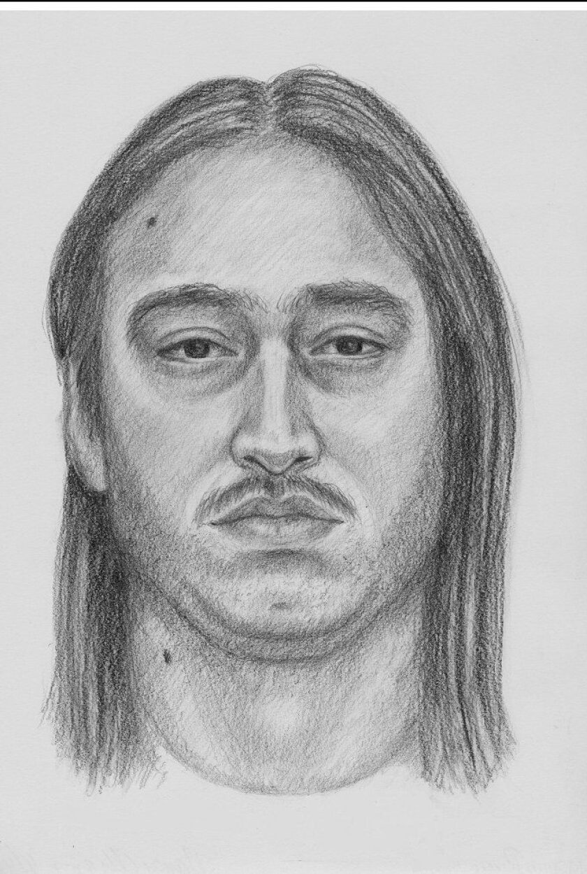 Oceanside police released this sketch of man suspected of attempted sexual assault on the San Luis Rey Mission grounds on Monday.
