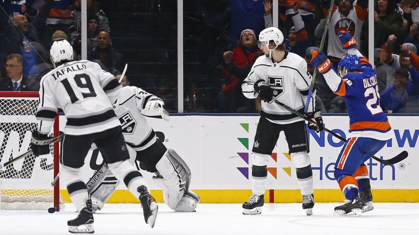 New York Islanders left wing Michael Dal Colle (28) celebrates scoring a goal past Los Angeles Kings