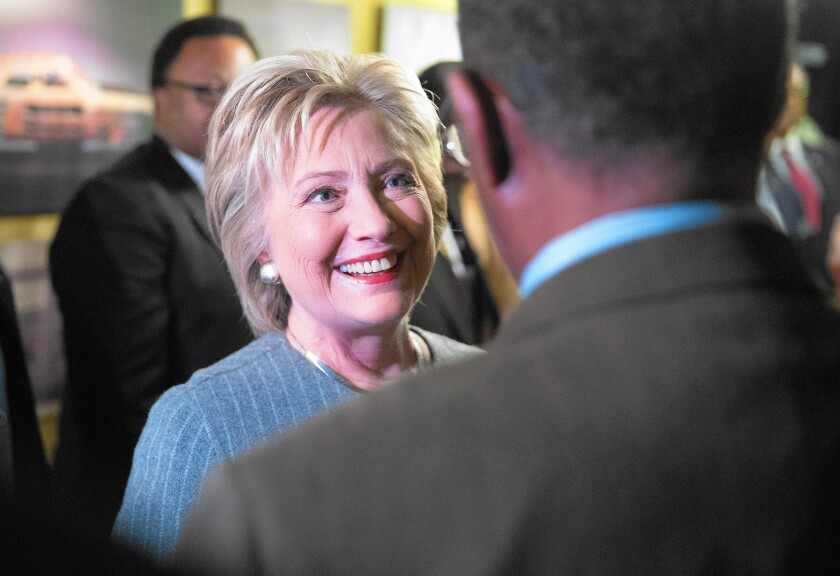 Hillary Clinton meets with African American ministers in Detroit three days before Michigan's Democratic primary.