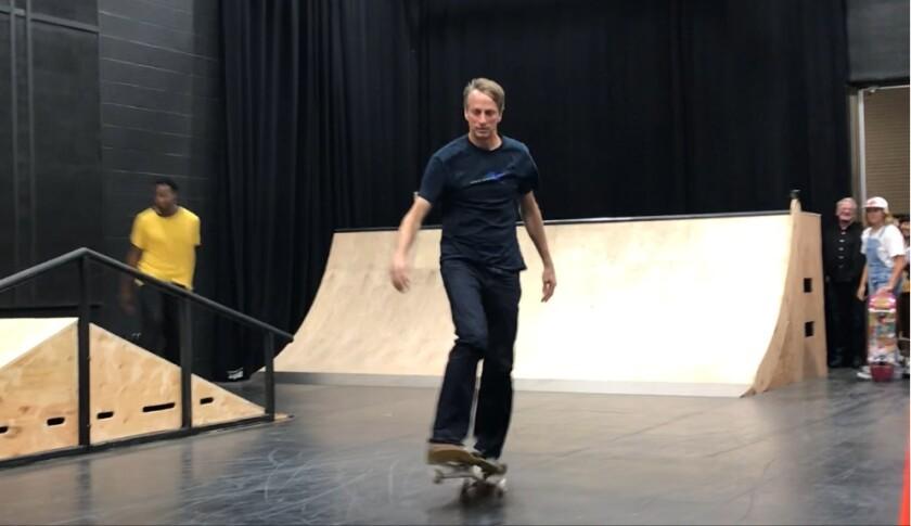 Pro skateboarder Tony Hawk at La Jolla Playhouse.
