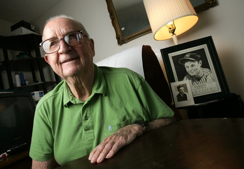 Robert Tierney, whose wife died of ALS, once played catch with Lou Gehrig. (John Gastaldo / Union-Tribune)
