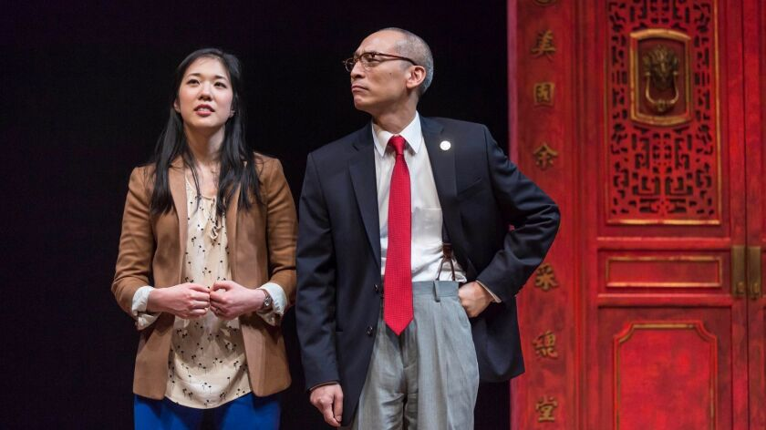 """Stephenie Soohyun Park and Francis Jue in the world premiere production of Lauren Yee's """"King of"""