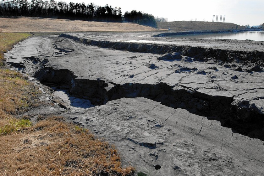 Coal ash is shown in settling ponds at a Duke Energy plant in North Carolina.