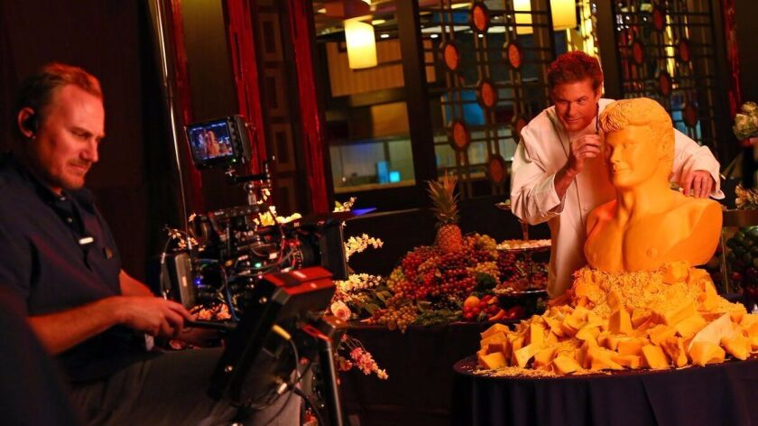 David Hasselhoff, key figure in a publicity campaign for Harrah's Resort So Cal, jokingly posed carv