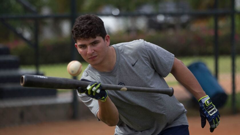 Luis Urias, a 19-year-old Padres prospect from Mexico, bunts one-handed during a practice drill Feb. 1 at the team's baseball academy in the Dominican Republic. Urias was named MVP of the Cal League despite starting the season as the youngest player.