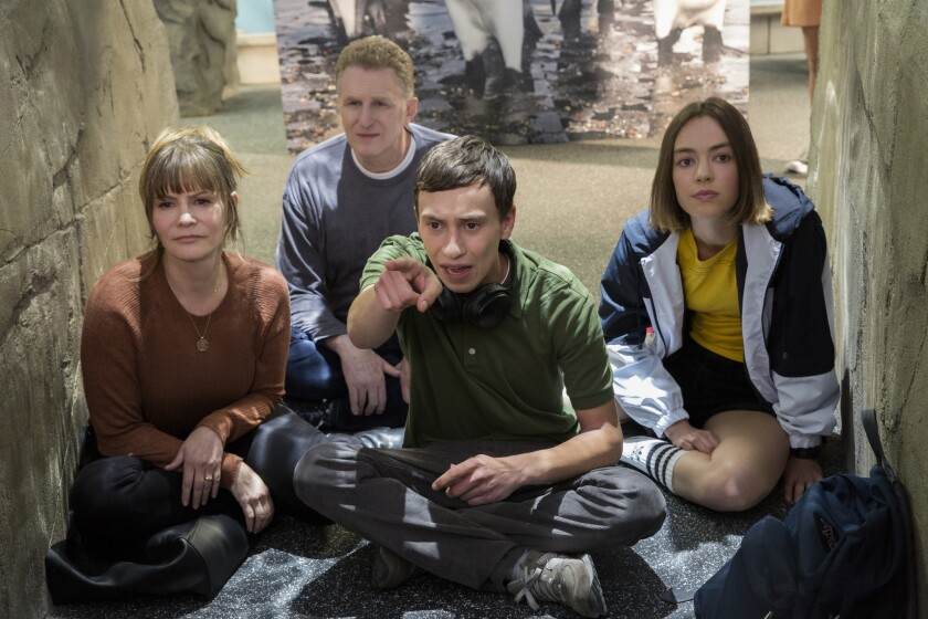 """From left to right, Jennifer Jason Leigh, Michael Rapaport, Keir Gilchrist and Brigette Lundy-Paine in the second season of """"Atypical,"""" which premieres Friday on Netflix."""