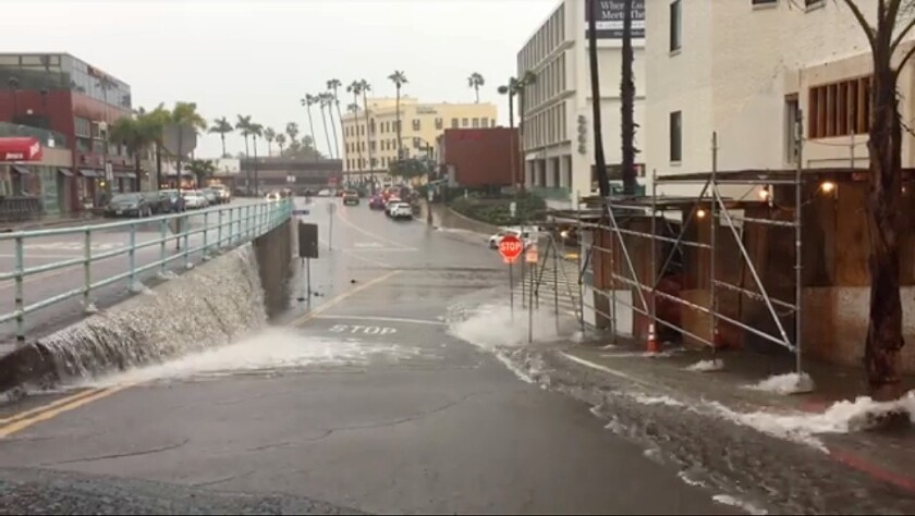 La Jolla artist Chris Cott, of Chris' Custom Airbrush, snapped this shot of the driving rain that drenched the intersection of Girard Avenue and Prospect Street — and the rest of La Jolla and San DIego — on Saturday, Feb. 2.