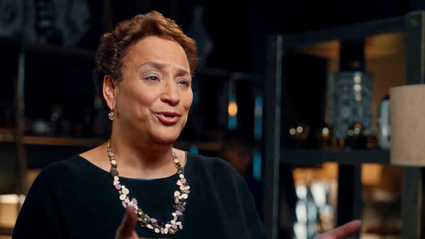 """AARP CEO Jo Ann Jenkins, as she appeared in a commercial rolled out during this year's Oscars telecast to introduce the group's new slogan, """"We hear you."""" Members' complaints about AARP's relationship with ALEC became too loud to ignore."""