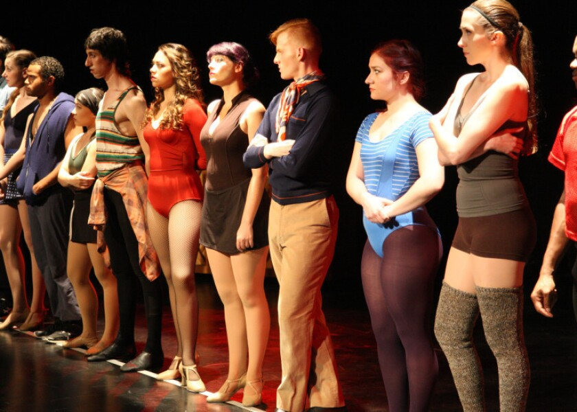 "Auditionees become ""A Chorus Line"" at the Chance Theater. From left are Kristen Daniels, John Wells III, Tina Nguyen, Robbie Lundegard, Tatiana Alvarez, Camryn Zelinger, Ben Heustess, Ashley Arlene Nelson and Dannielle Green."