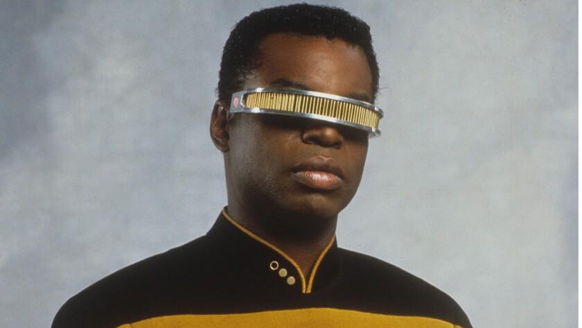 "LeVar Burton as Lt. Commander Geordi La Forge in ""Star Trek The Next Generation."""