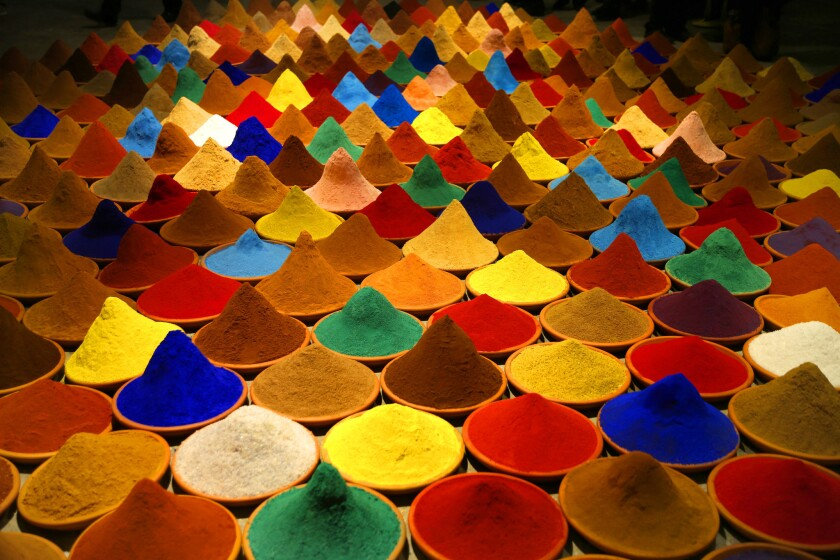"""Sonia Falcone's installation """"Campo de Color (Color Field),"""" from 2012 — part of the exhibition """"Unsettled"""" at the Nevada Museum of Art."""