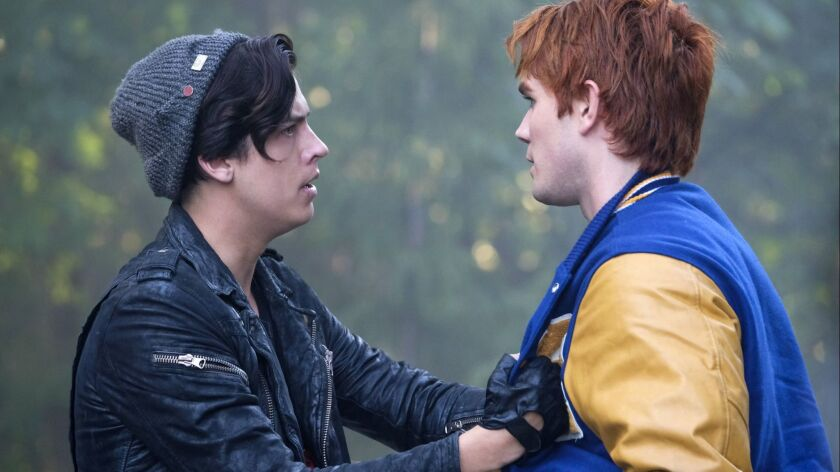 """Cole Sprouse, left, and KJ Apa in """"Riverdale"""" on The CW."""