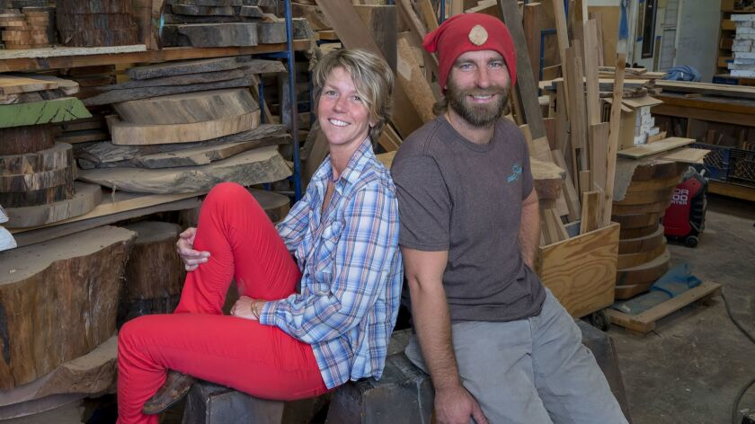 Jessica Van Arsdale and Dan Herbst at their Urban Timber workshop in Chula Vista.