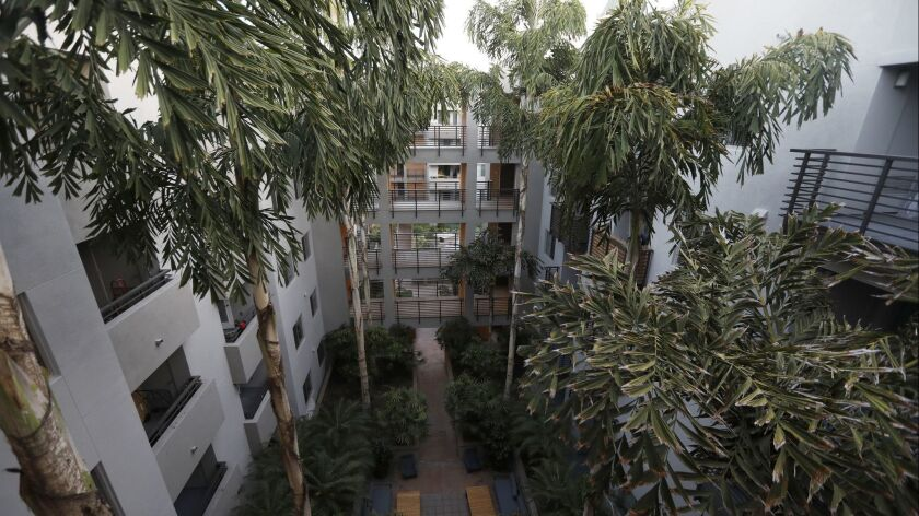 HOLLYWOOD, CA July 17, 2018: An overall of a courtyard at an apartment in Hollywood, CA July 17,