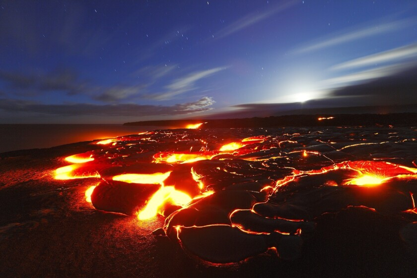 Lava from Kilauea volcano in Hawaii