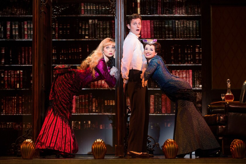 """Kristen Beth Williams as Sibella Hallward, left, Kevin Massey as Monty Navarro and Adrienne Eller as Phoebe D'Ysquith in a scene from """"A Gentleman's Guide to Love & Murder."""""""
