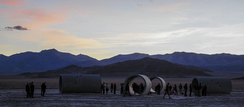 """Nancy Holt's """"Sun Tunnels"""" in Utah consists of huge tubes precisely oriented to frame not only landscapes in the distance but also the ever-changing patterns of the sun and stars in the sky."""