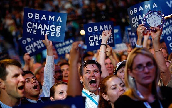 Delegates cheer for Sen. Hillary Rodham Clinton as she addresses the Democratic National Convention.