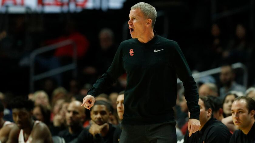 LOS ANGELES, CA - DECEMBER 8, 2017: USC Trojans coach Andy Enfield argues a non-call against Oklahom