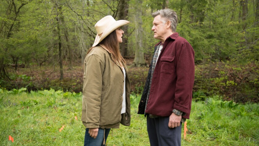 """Anjelica Houston and Bill Pullman in the movie """"Trouble."""""""