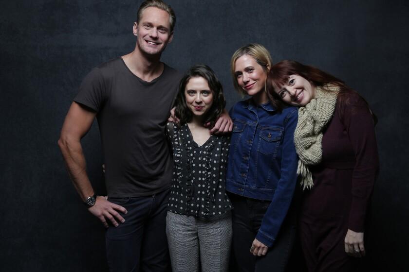"Alexander Skarsgard, Bel Powley, Kristen Wiig and Marielle Heller from the movie ""A Diary of a Teenage Girl."""