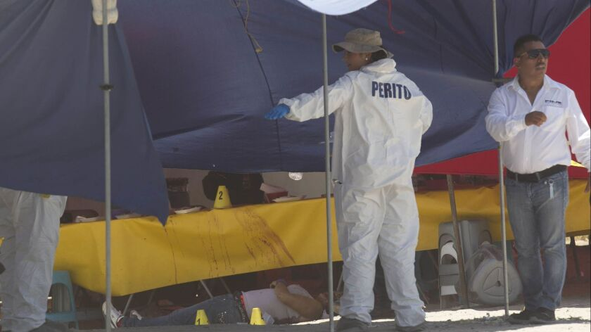 Baja California State Police homicide investigators gather evidence at the scene where a woman was killed while eating lunch at an outdoor market in the Valle Verde 1st section on Aug. 4, 2017.