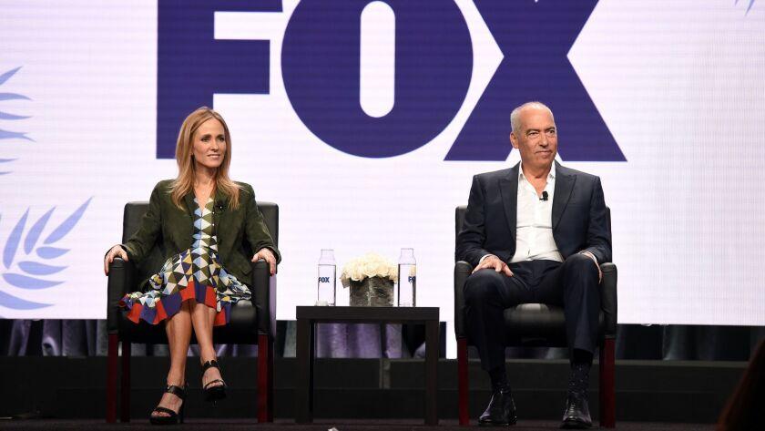 2018 FOX SUMMER TCA: (L-R): Dana Walden and Gary Newman, Chairmen and CEO's, Fox Television Group,