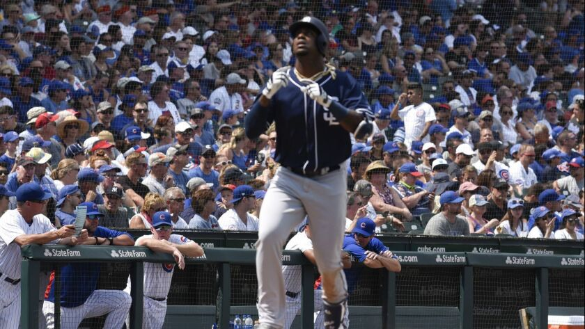 Franmil Reyes gestures crosses home plate after hitting a home run against the Chicago Cubs on Sunday.